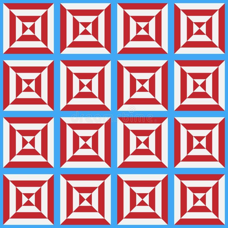 Teste padrão sem emenda da pilha branca e vermelha estilizado em um fundo azul ilustração do vetor