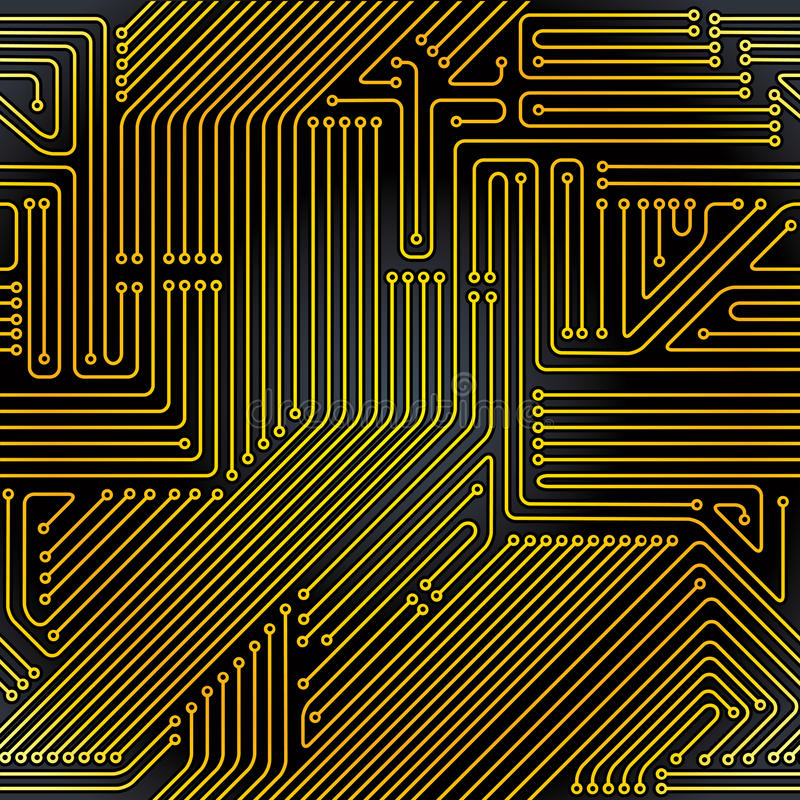 Teste padrão sem emenda da placa de circuito do computador ilustração do vetor