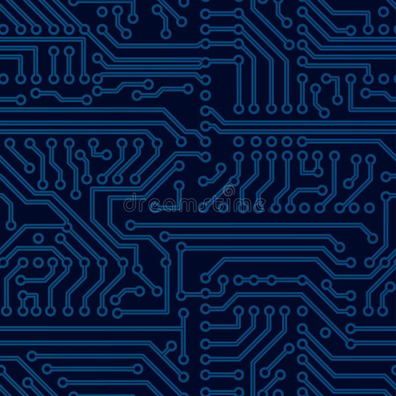 Teste padrão sem emenda da placa de circuito do vetor ilustração royalty free