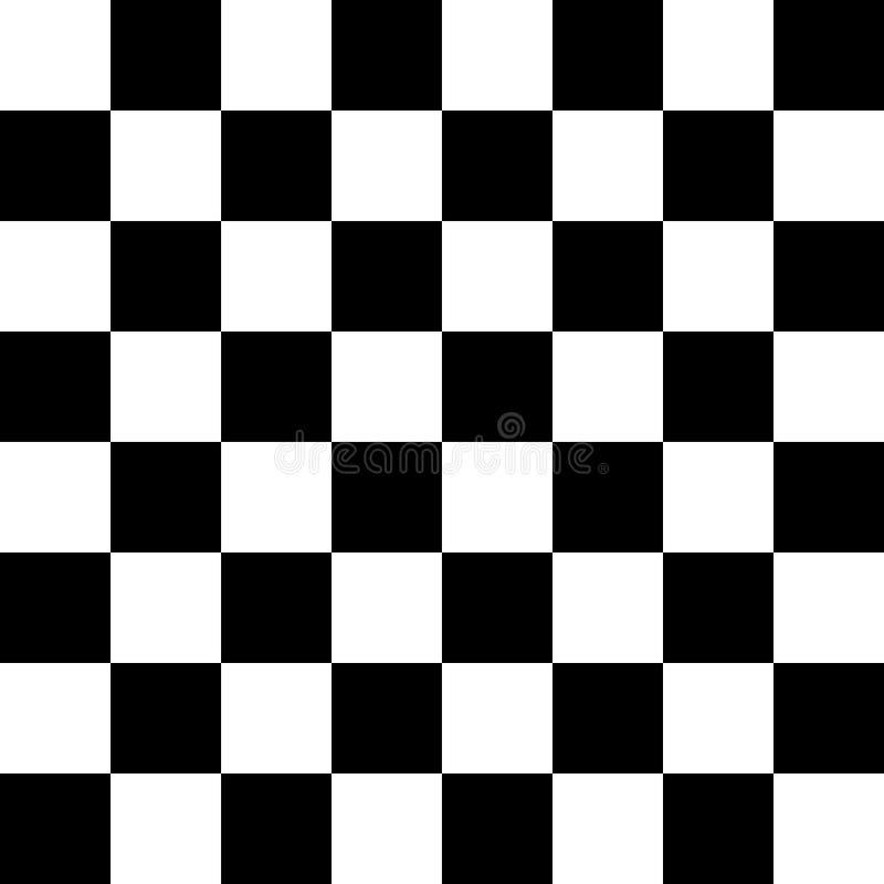 Teste padrão sem emenda da placa do tabuleiro de xadrez ou de verificador em preto e branco Placa quadriculado para a xadrez ou o ilustração do vetor
