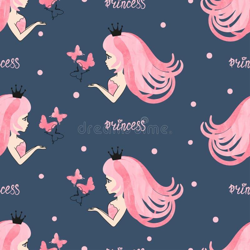 Teste padrão sem emenda da princesa com meninas e as borboletas bonitas ilustração royalty free