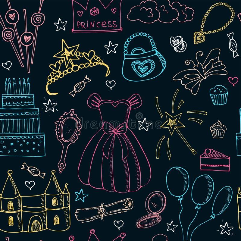Teste padrão sem emenda da princesa do conto de fadas ilustração stock