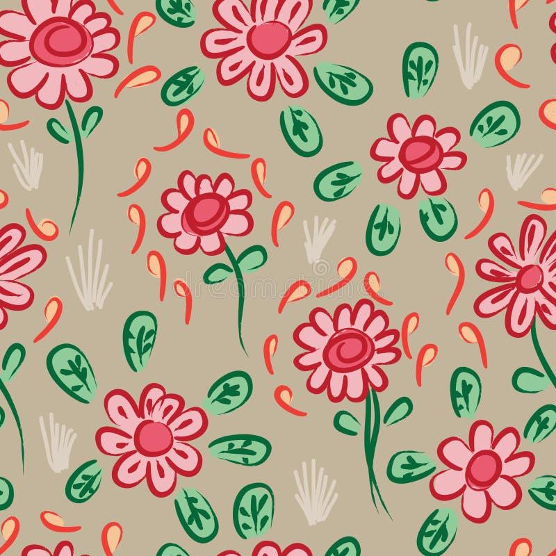 Teste padrão sem emenda da propagação alaranjada marrom vermelha chinesa da flor da tinta ilustração do vetor