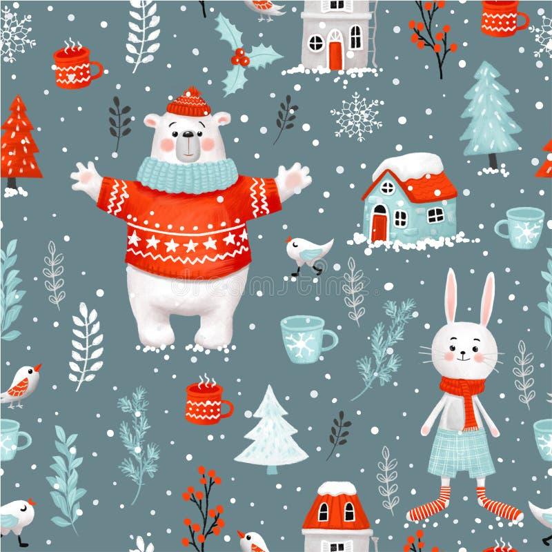 Teste padrão sem emenda da quadriculação desenhado à mão do feriado do Natal do inverno Trajeto de grampeamento incluído ilustração stock