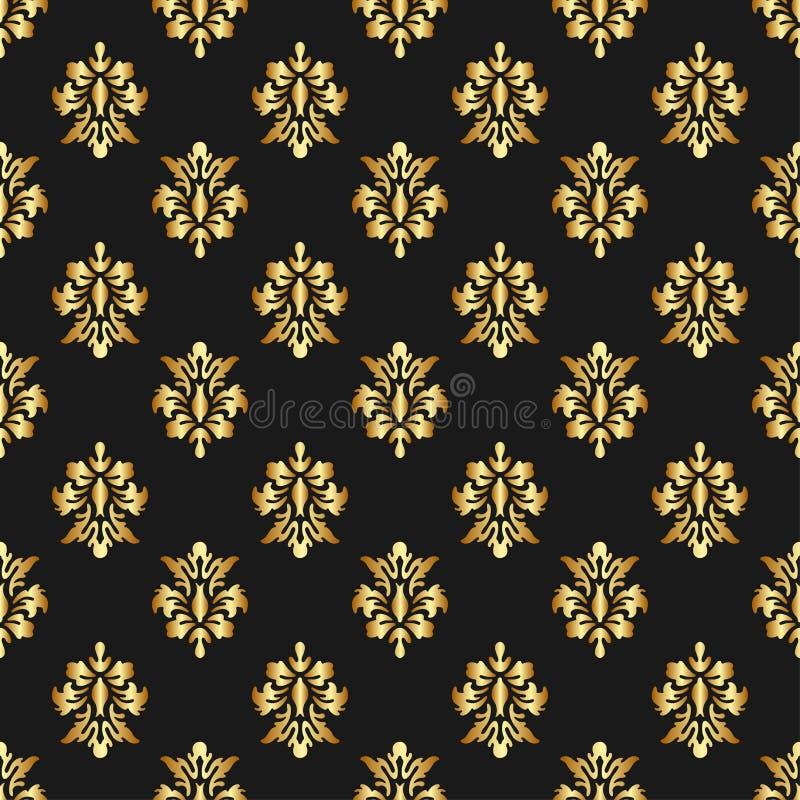 Teste padrão sem emenda da rainha bonita com elementos do ornamento da flor de lis no fundo escuro Real assina dentro o estilo do ilustração do vetor