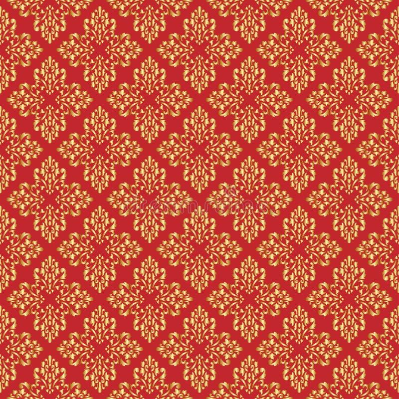 Teste padrão sem emenda da rainha bonita com elementos do ornamento da flor de lis no fundo vermelho Real assina dentro o estilo  ilustração do vetor
