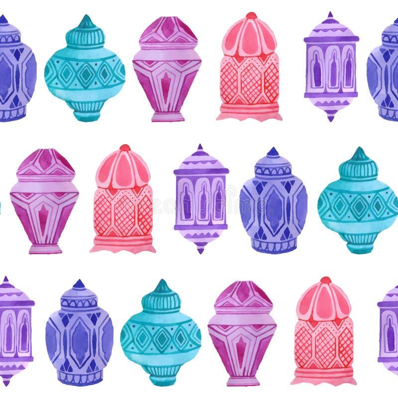 Teste padrão sem emenda da ramadã árabe da aquarela ilustração do vetor