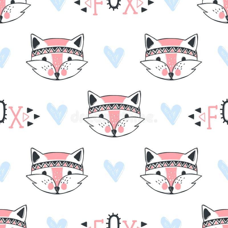 Teste padrão sem emenda da raposa da forma Ilustração bonito das raposas no estilo do esboço ilustração stock
