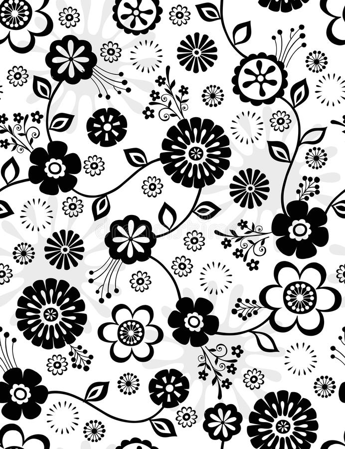 Teste padrão sem emenda da repetição das flores preto e branco ilustração do vetor