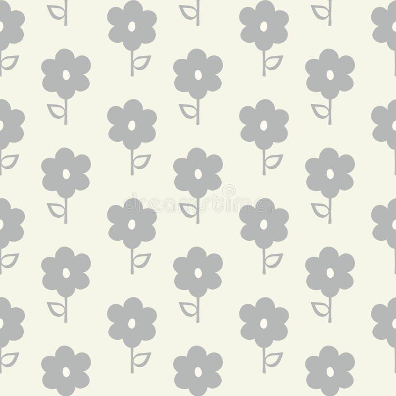 Teste padrão sem emenda da repetição de flores cinzentas estilizados e de folhas em um teste padrão geométrico Mão bonita um veto ilustração stock