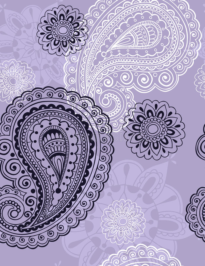 Teste padrão sem emenda da repetição de Paisley do Henna delicado ilustração stock