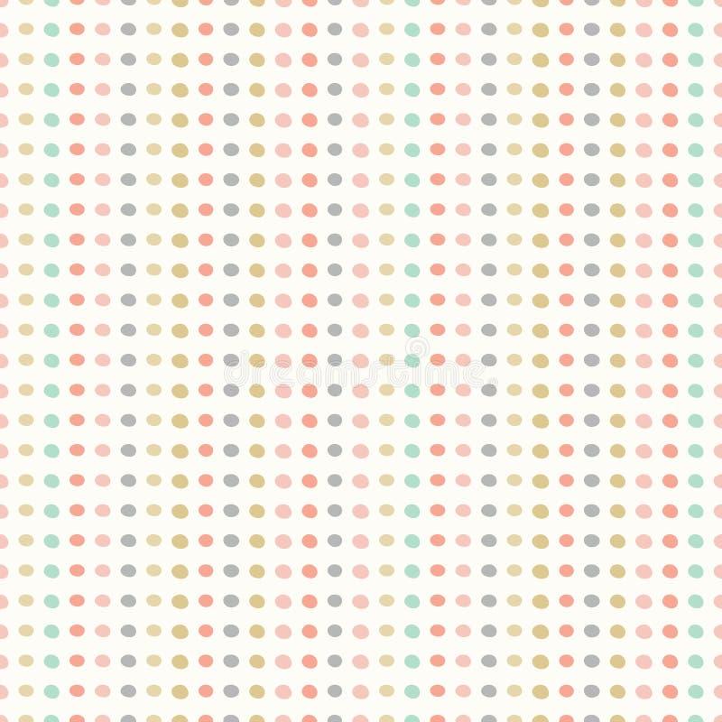Teste padrão sem emenda da repetição de pontos tirados mão nas fileiras Pontos coloridos pasteis em um projeto geométrico do veto ilustração stock