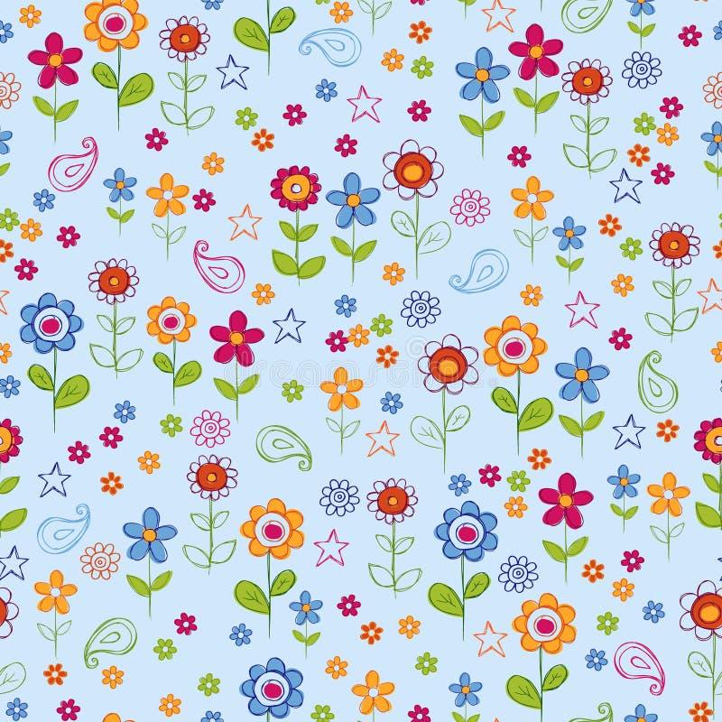 Teste padrão sem emenda da repetição do jardim de flor do Doodle