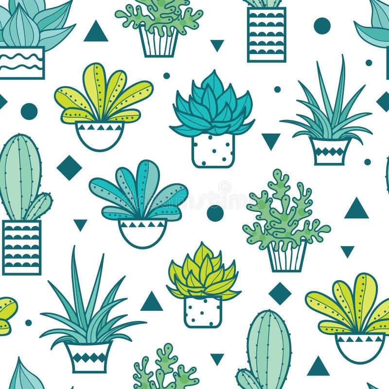Teste padrão sem emenda da repetição do verde azul do vetor com plantas carnudas e os cactos crescentes em uns potenciômetros Pro ilustração do vetor