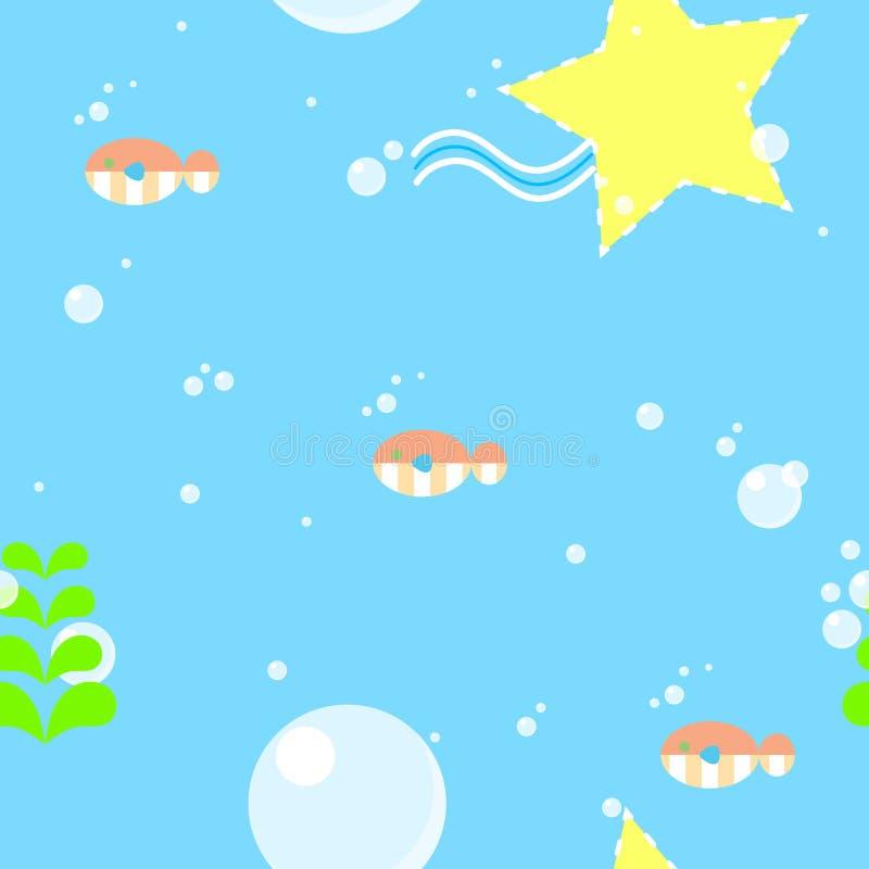 Teste padrão sem emenda da repetição dos peixes ilustração do vetor