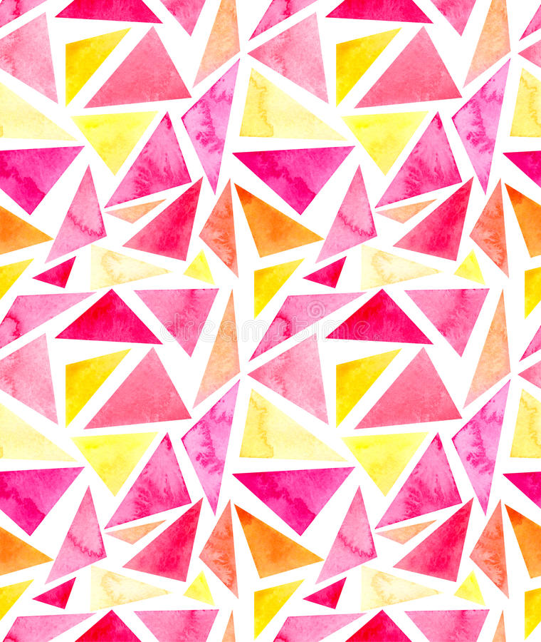 Teste padrão sem emenda da repetição dos triângulos brilhantes simples da aquarela ilustração do vetor