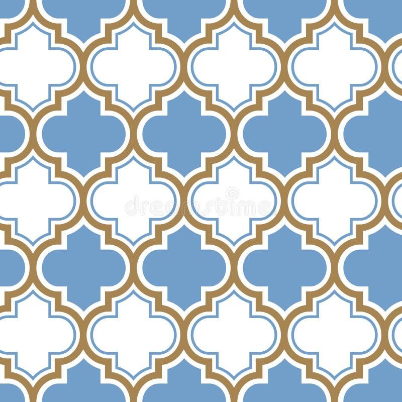 Teste padrão sem emenda da repetição marroquina do vetor Luz - azul, linha bege do ouro no fundo branco ilustração stock