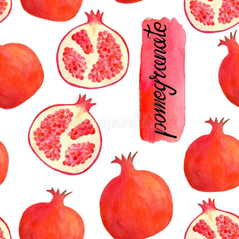 Teste padrão sem emenda da romã da aquarela com rotulação da caligrafia Fundo vermelho tirado mão do fruto isolado no branco para ilustração royalty free