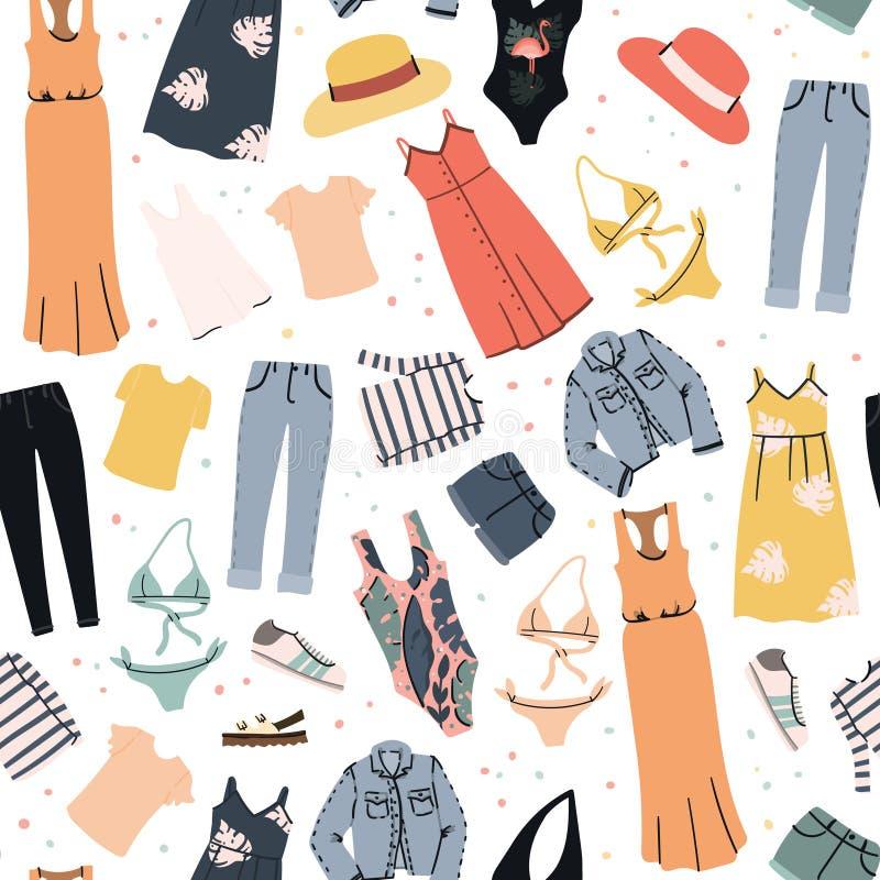 Teste padrão sem emenda da roupa da mulher do verão Fundo liso tirado mão dos desenhos animados ilustração royalty free