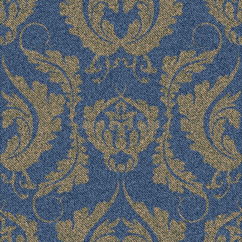 Teste padrão sem emenda da sarja de Nimes com uma cópia de Damasco do ouro Fundo azul com um grande ornamento floral ilustração stock