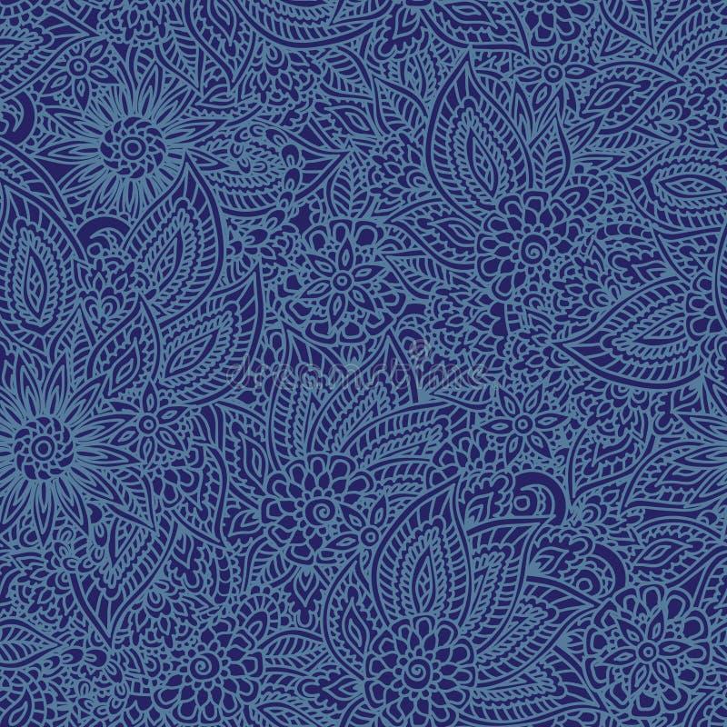 Teste padrão sem emenda da sarja de Nimes floral ilustração stock