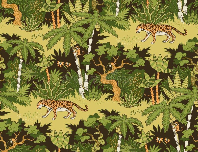 Teste padrão sem emenda da selva ilustração stock