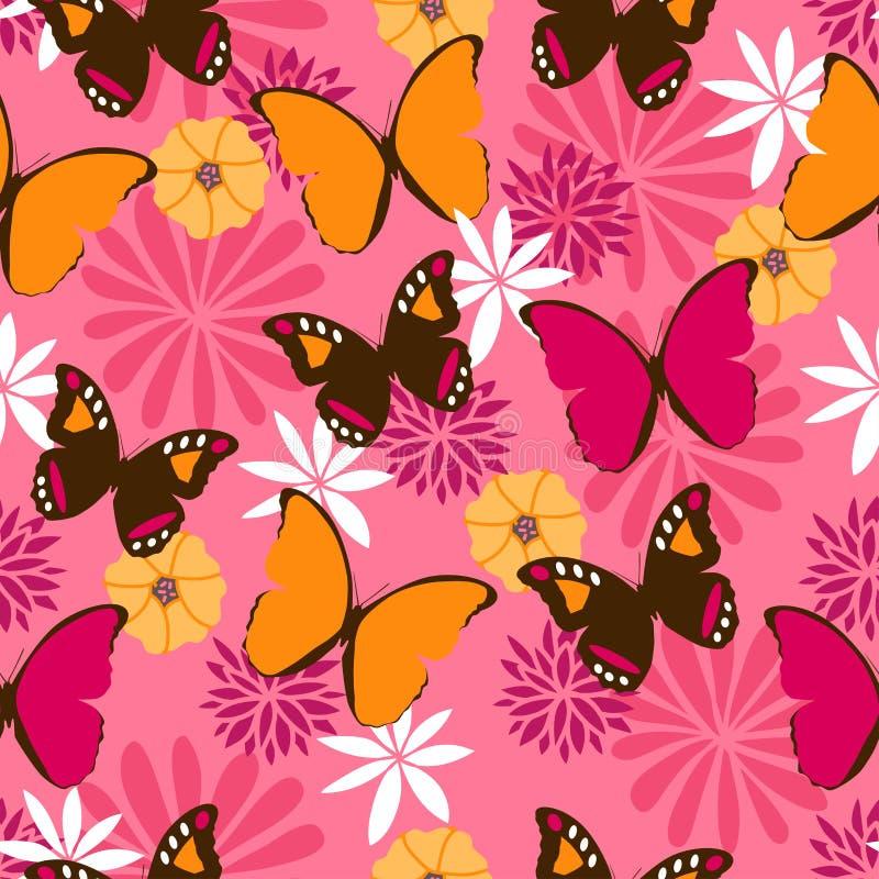 Teste padrão sem emenda da selva com as borboletas no fundo cor-de-rosa ilustração do vetor