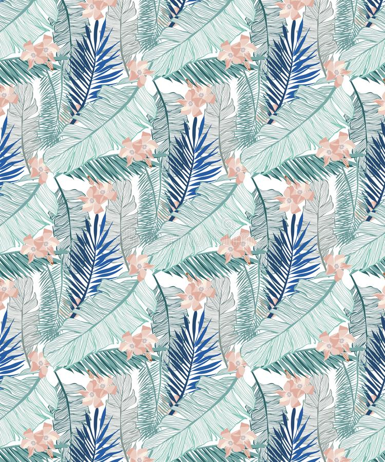 Teste padrão sem emenda da selva com folhas da banana e as flores tropicais cor-de-rosa em três tons verdes ilustração stock