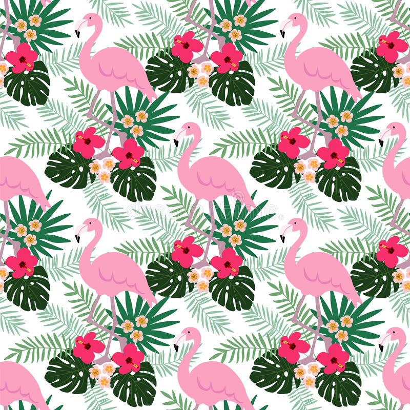 Teste padrão sem emenda da selva tropical com pássaro do flamingo, flores do hibiscus e do plumeria e folhas de palmeira, projeto ilustração royalty free