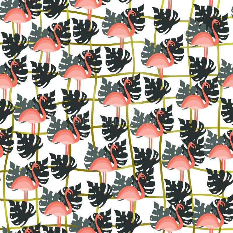 Teste padrão sem emenda da selva tropical - folhas e flamingo da palmeira Fundo liso tirado mão do verão do estilo ilustração royalty free