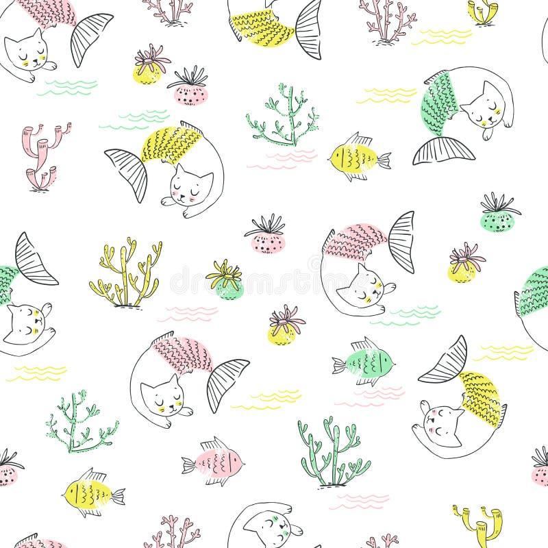 Teste padrão sem emenda da sereia pequena bonito do gato Ilustração Textured ilustração stock