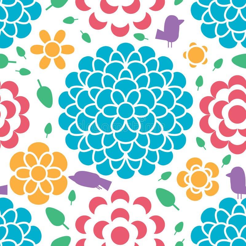 Teste padrão sem emenda da silhueta da forma de folha da flor do pássaro ilustração stock