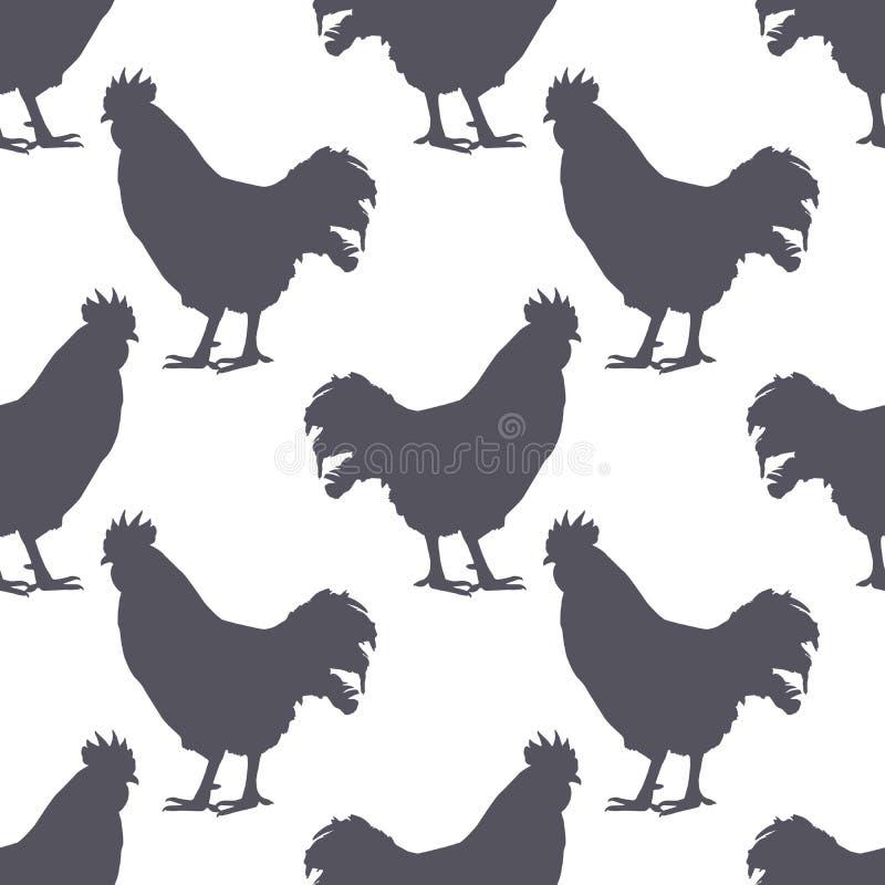 Teste padrão sem emenda da silhueta da galinha Carne da galinha Fundo para o empacotamento de alimento ou o projeto do açougue Ve ilustração royalty free