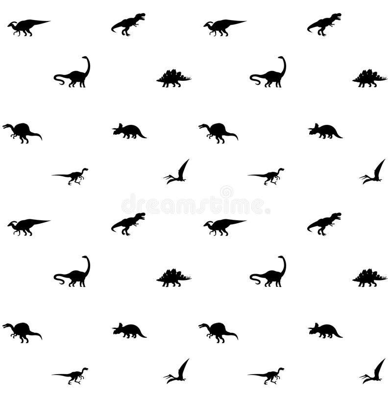 Teste padrão sem emenda da silhueta preta do dinossauro ilustração stock
