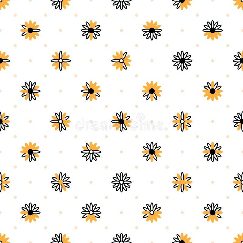 Teste padrão sem emenda da simetria alaranjada branca do preto do símbolo do crisântemo ilustração do vetor