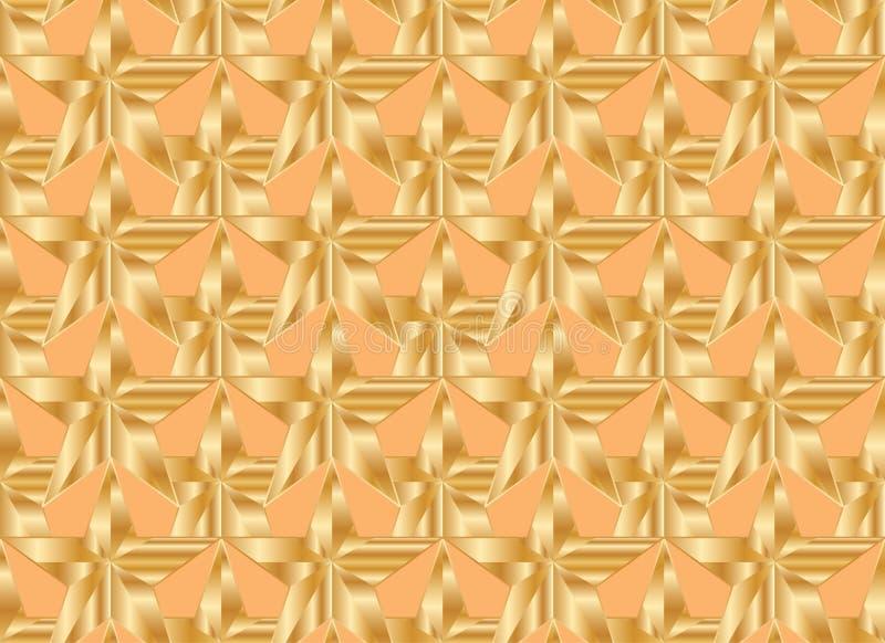 Teste padrão sem emenda da simetria alaranjada da estrela do ouro ilustração stock