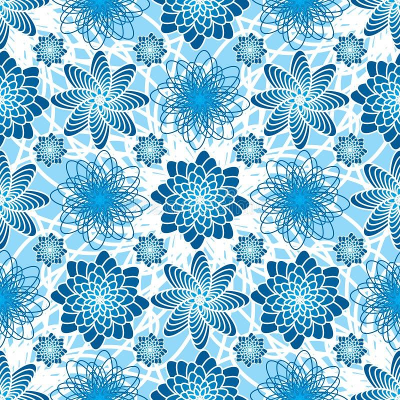 Teste padrão sem emenda da simetria azul da flor ilustração royalty free