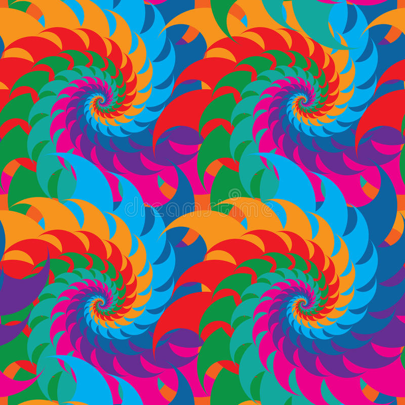 Teste padrão sem emenda da simetria colorida do redemoinho ilustração stock
