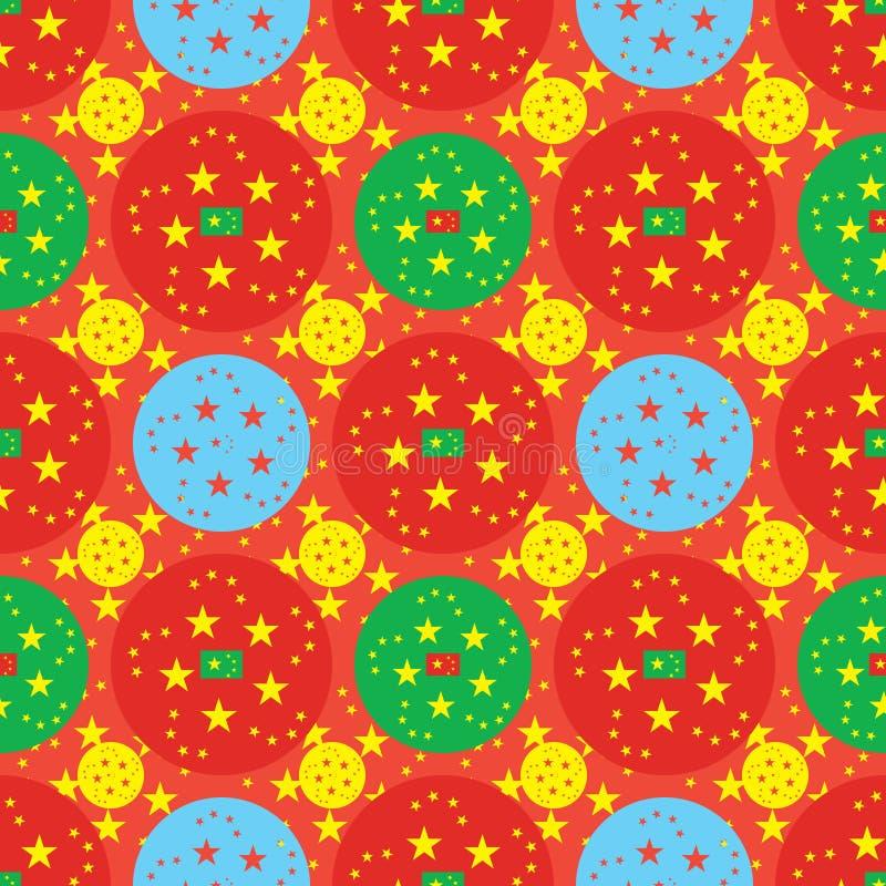 Teste padrão sem emenda da simetria do círculo da estrela de China cinco ilustração royalty free
