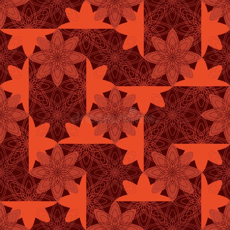 Teste padrão sem emenda da simetria do estilo do batik da flor ilustração stock
