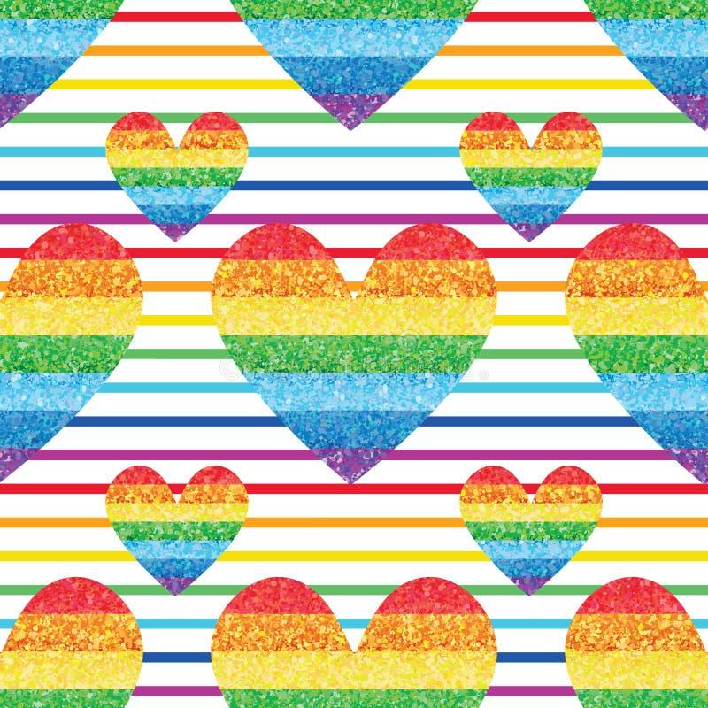 Teste padrão sem emenda da simetria da listra do amor do brilho do arco-íris ilustração do vetor