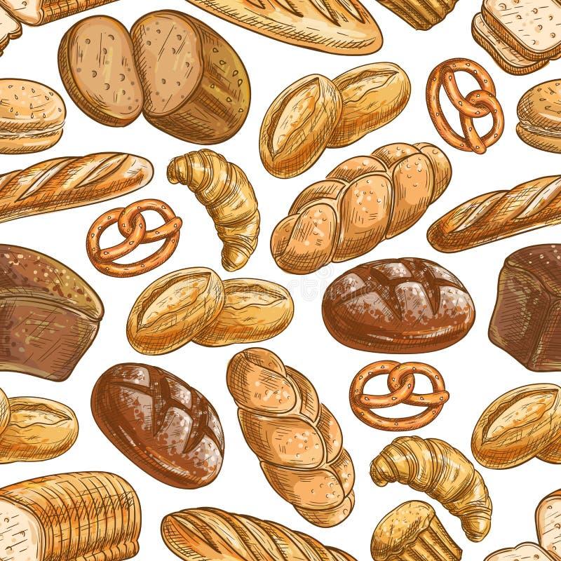Teste padrão sem emenda da sobremesa do pão e da pastelaria da padaria ilustração do vetor