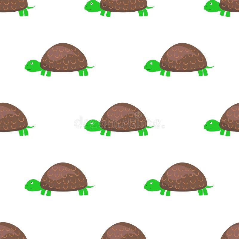 Teste padrão sem emenda da tartaruga dos desenhos animados no vetor branco ilustração stock