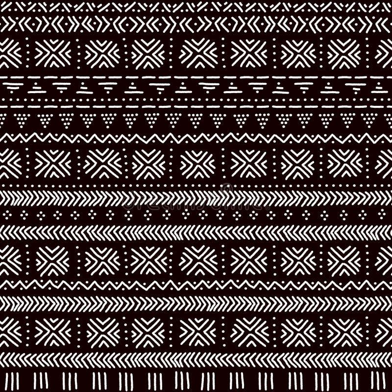Teste padrão sem emenda da tela africana tradicional listrada preto e branco do mudcloth do ornamento, vetor ilustração royalty free