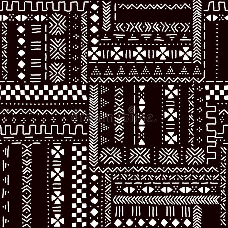 Teste padrão sem emenda da tela africana tradicional preto e branco do mudcloth, vetor ilustração royalty free