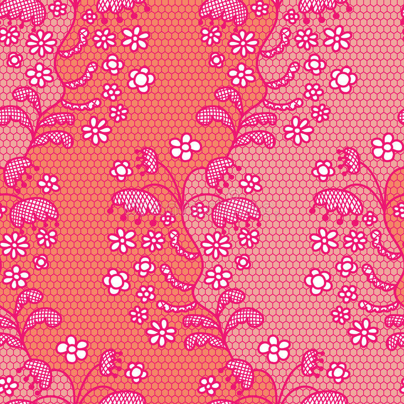 Teste padrão sem emenda da tela cor-de-rosa do vetor do laço ilustração stock