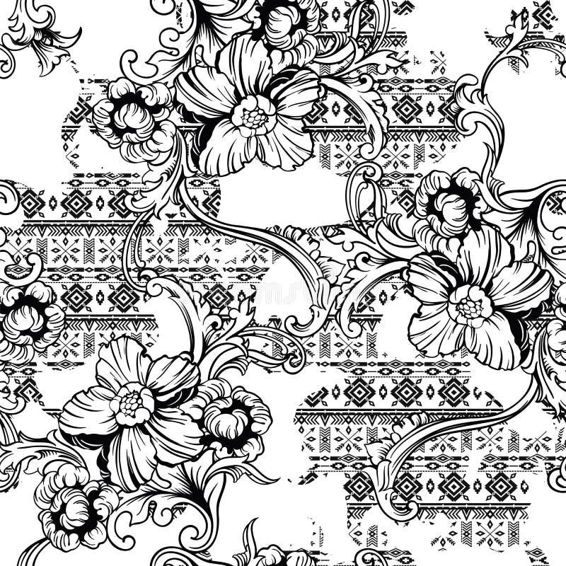 Teste padrão sem emenda da tela eclético Origem étnica com ornamento barroco ilustração stock