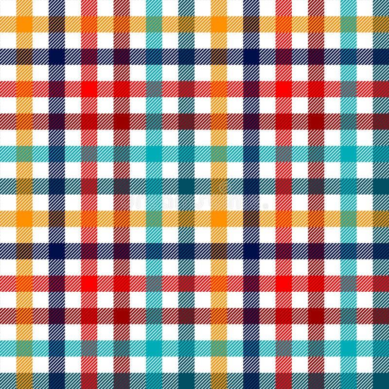 Teste padrão sem emenda da tela quadriculado colorida da manta do guingão em vermelho branco e amarelo azuis, cópia ilustração stock