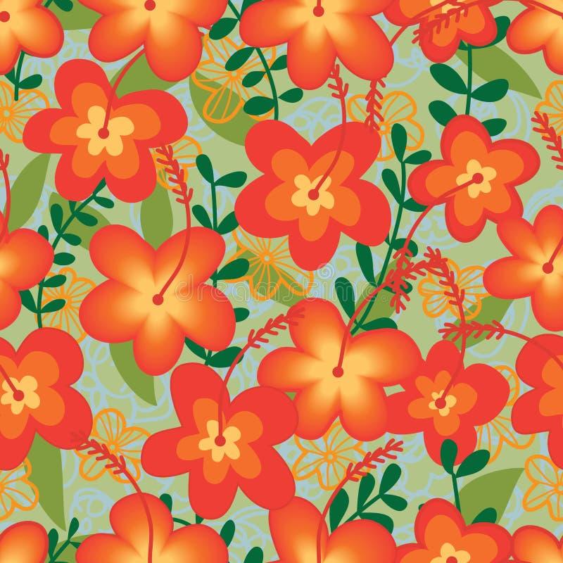 Teste padrão sem emenda da tela selvagem alaranjada da flor ilustração stock