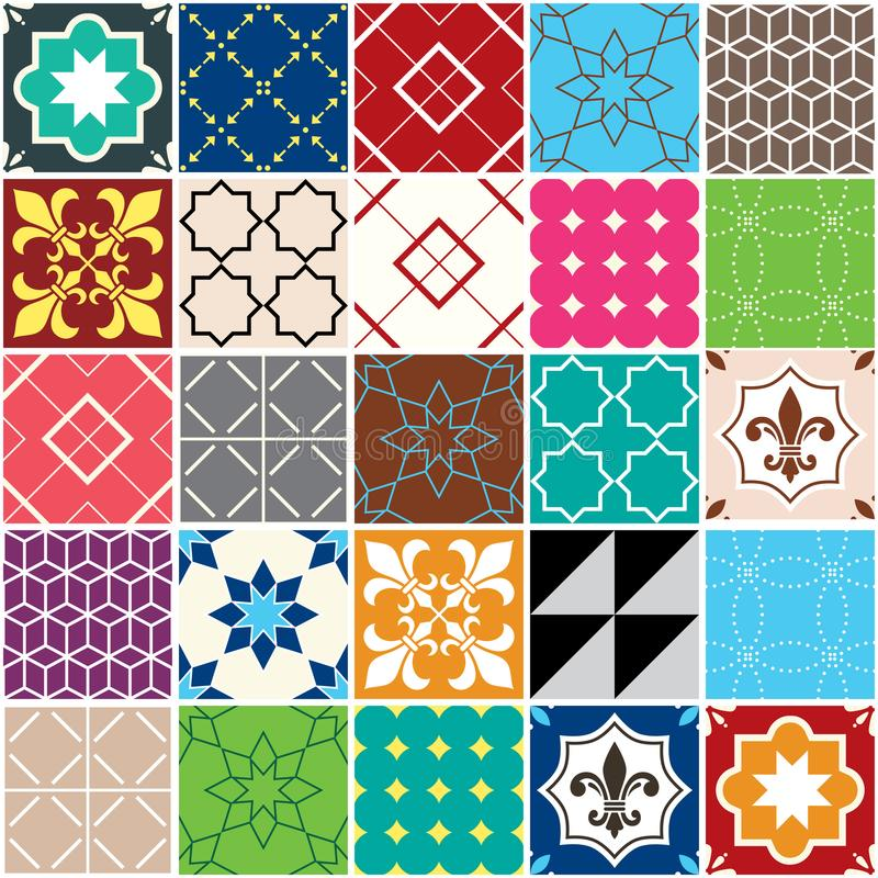 Teste padrão sem emenda da telha do vetor, telhas de Azulejos, geométricos português e design floral - retalhos coloridos ilustração do vetor